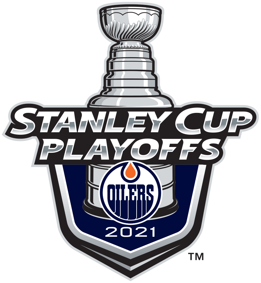Edmonton Oilers Logo Event Logo (2020/21) -  The Edmonton Oilers 2021 Stanley Cup Playoffs logo features the Oilers logo on a navy blue shield with STANLEY CUP PLAYOFFS written above in silver and 2021 below in white. A depiction of the top-half of the Stanley Cup can be seen above the shield. This logo is used by the Edmonton Oilers on various materials throughout their participation in the 2021 NHL Stanley Cup Playoffs. SportsLogos.Net