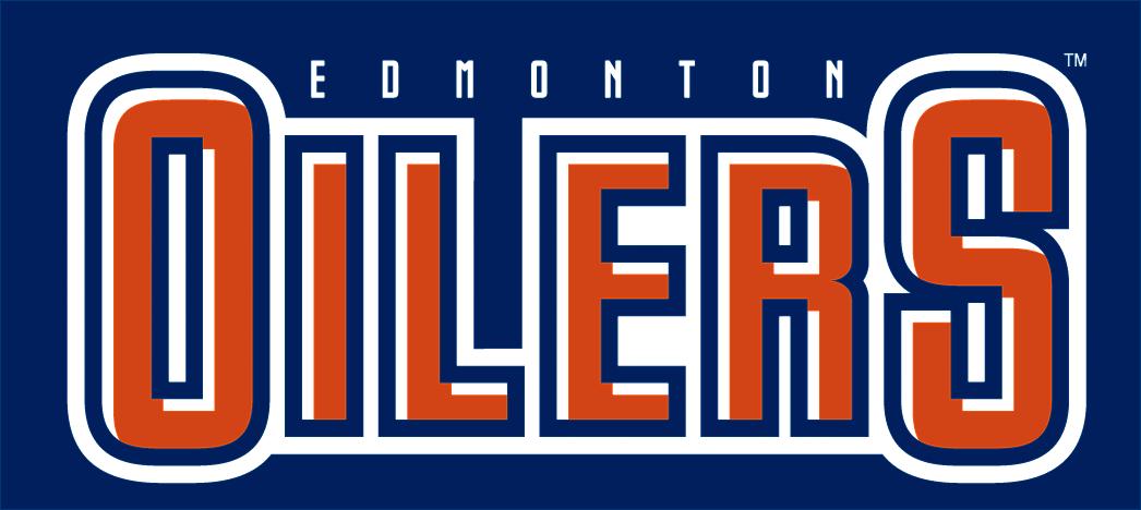 Edmonton Oilers Logo Wordmark Logo (2011/12-2016/17) - OILERS in blue, orange and white with EDMONTON above in white on blue SportsLogos.Net