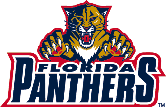 Florida Panthers Logo Wordmark Logo (1999/00-2008/09) - A panther leaping over the team script SportsLogos.Net
