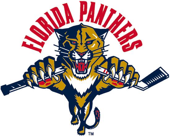 Florida Panthers Logo Alternate Logo (1999/00-2008/09) - A Florida panther leaping under FLORIDA PANTHERS arched in red SportsLogos.Net