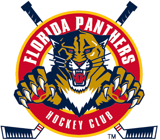 Florida Panthers Logo Alternate Logo (1999/00-2008/09) - A panther leaping through a red circle with crossed hockey sticks SportsLogos.Net