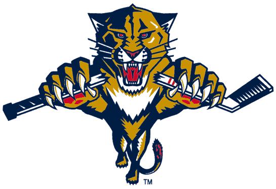 Florida Panthers Logo Alternate Logo (1999/00-2008/09) - A panther leaping while breaking a hockey stick SportsLogos.Net
