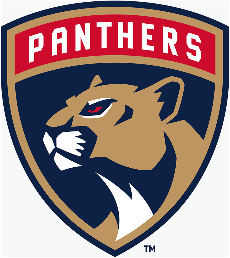 Florida Panthers Logo Secondary Logo (2016/17-Pres) - Florida panther head in a shield with team name arched above  SportsLogos.Net