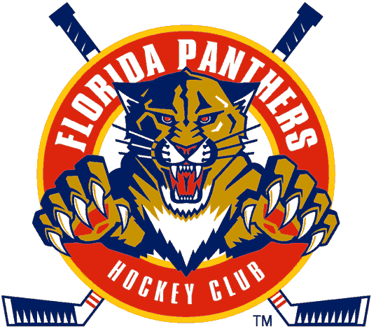 Florida Panthers Logo Alternate Logo (1993/94-1998/99) - A panther leaping through a red circle with crossed hockey sticks SportsLogos.Net