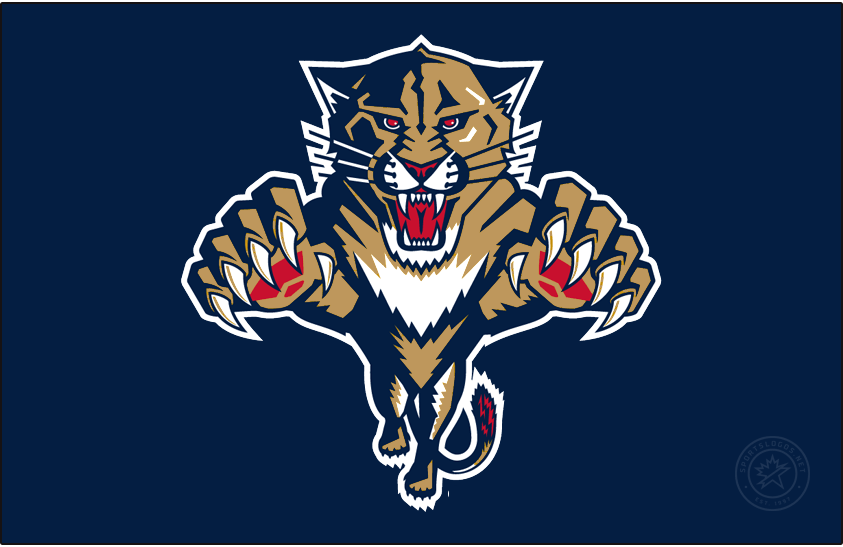 Florida Panthers Logo Jersey Logo (2020/21-Pres) - The Florida Panthers Reverse Retro logo, a throwback to the 1997 season with their logo of the era recoloured to their modern colour scheme, a leaping Florida panther with claws out in gold, blue, and red. Worn on a navy blue jersey. SportsLogos.Net