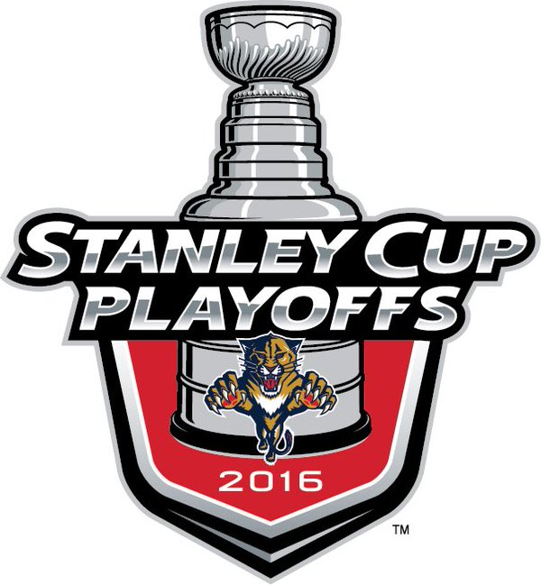 Florida Panthers Logo Event Logo (2015/16) - The Florida Panthers 2016 Stanley Cup Playoffs logo features the Panthers leaping cat logo on a red shield with STANLEY CUP PLAYOFFS written above in silver and 2016 below in white. A depiction of the top-half of the Stanley Cup can be seen above the shield. This logo is used by the Florida Panthers on various materials throughout their participation in the 2016 NHL Stanley Cup Playoffs. SportsLogos.Net