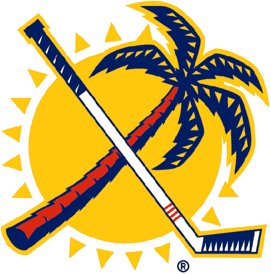 Florida Panthers Logo Secondary Logo (1993/94-1998/99) - A red and blue palm tree crossed with a white and blue hockey stick in front of a yellow sun SportsLogos.Net