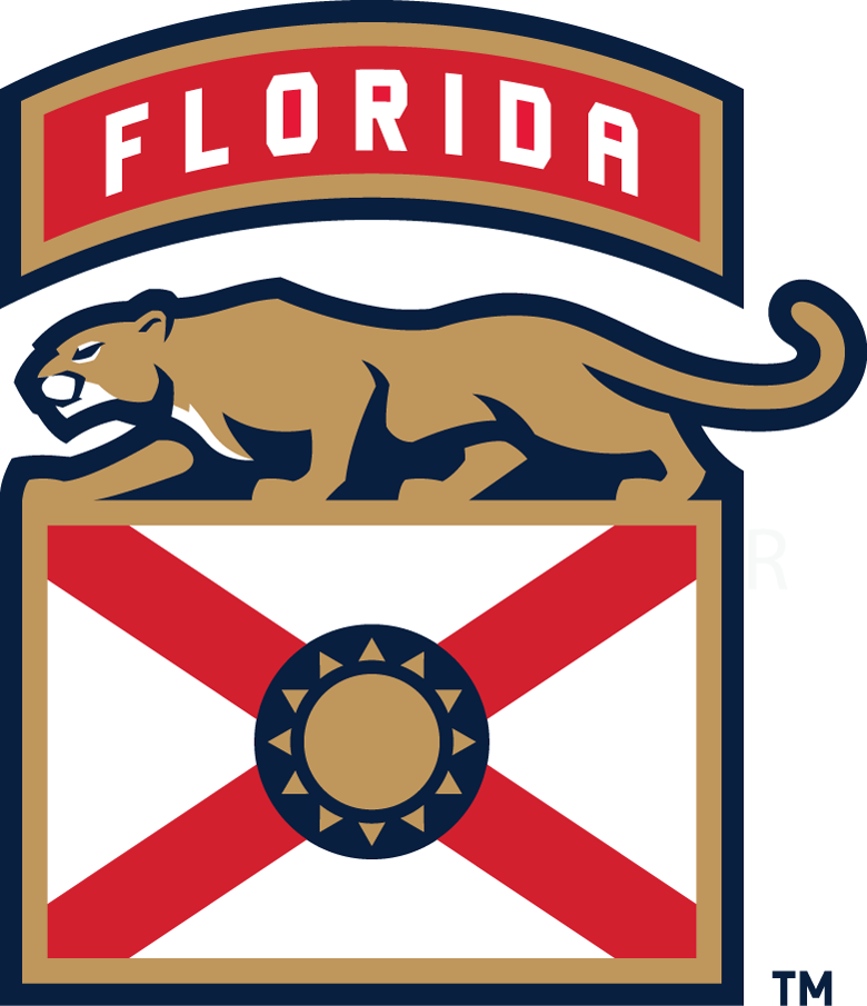 Florida Panthers Logo Alternate Logo (2016/17-Pres) - Stylized state flag of Florida with crawling panther and team name arched above SportsLogos.Net