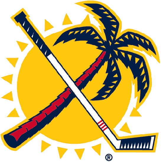 Florida Panthers Logo Secondary Logo (1999/00-2007/08) - A red and blue palm tree crossed with a white and blue hockey stick in front of a yellow sun SportsLogos.Net
