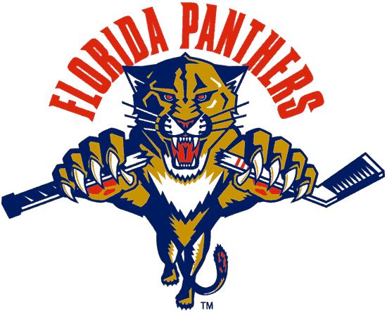 Florida Panthers Logo Alternate Logo (1993/94-1998/99) - A Florida panther leaping under FLORIDA PANTHERS arched in red SportsLogos.Net