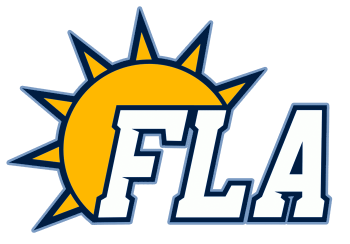 Florida Panthers Logo Alternate Logo (2009/10-2011/12) - FLA in white and blue next to a yellow sun, worn on shoulders of Florida Panthers alternate uniform SportsLogos.Net