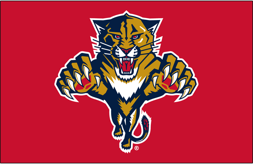 Florida Panthers Logo Primary Dark Logo (1999/00-2014/15) - Florida Panthers primary logo on red SportsLogos.Net