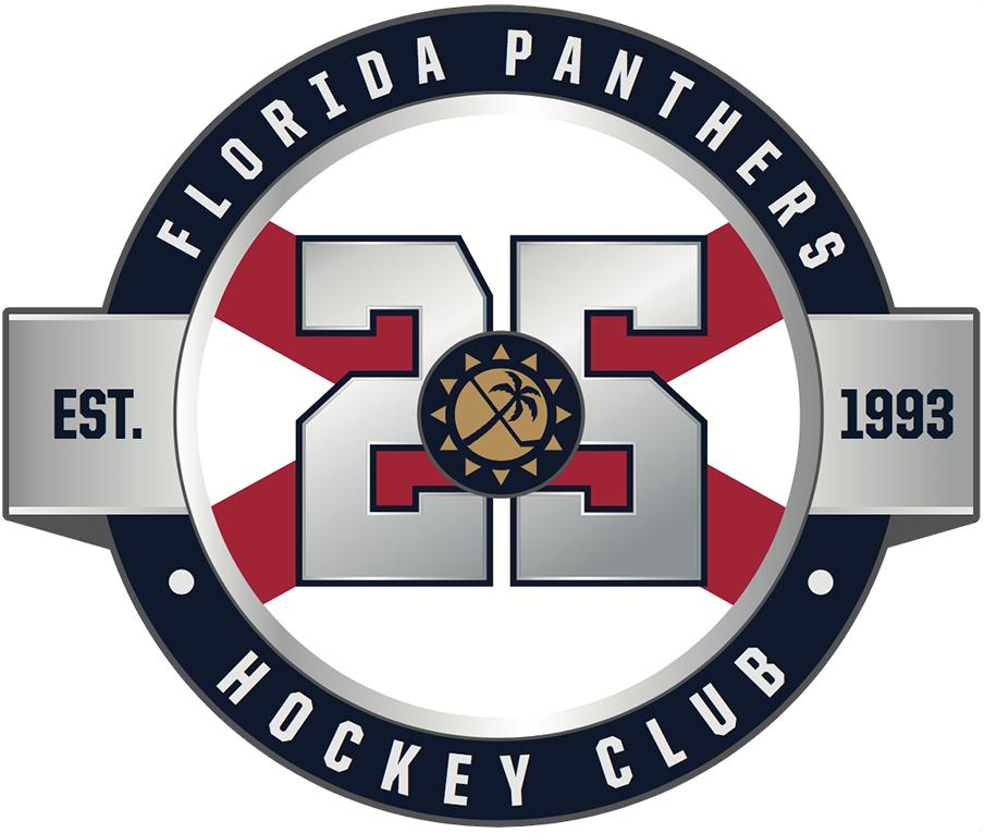 Florida Panthers Logo Anniversary Logo (2018/19) - Florida Panthers 25th anniversary logo, this version worn on road white jersey SportsLogos.Net