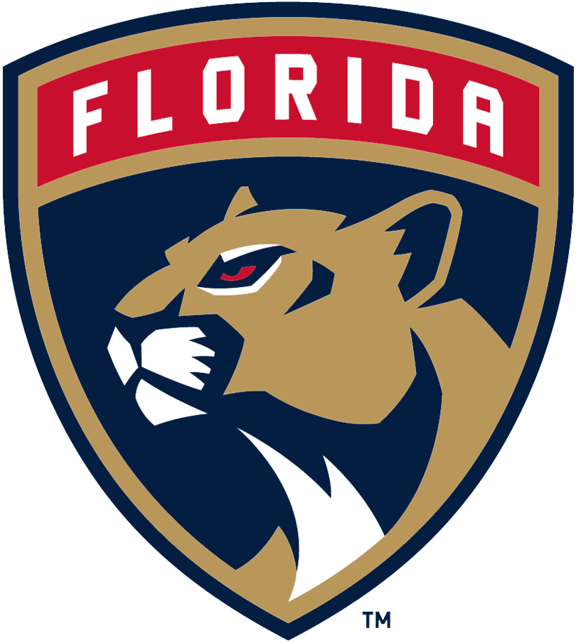 Florida Panthers Logo Primary Logo (2016/17-Pres) - Florida panther head in a shield with team name arched above SportsLogos.Net