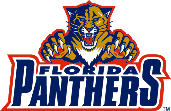 Florida Panthers Logo Wordmark Logo (1993/94-1998/99) - A panther leaping over the team script SportsLogos.Net