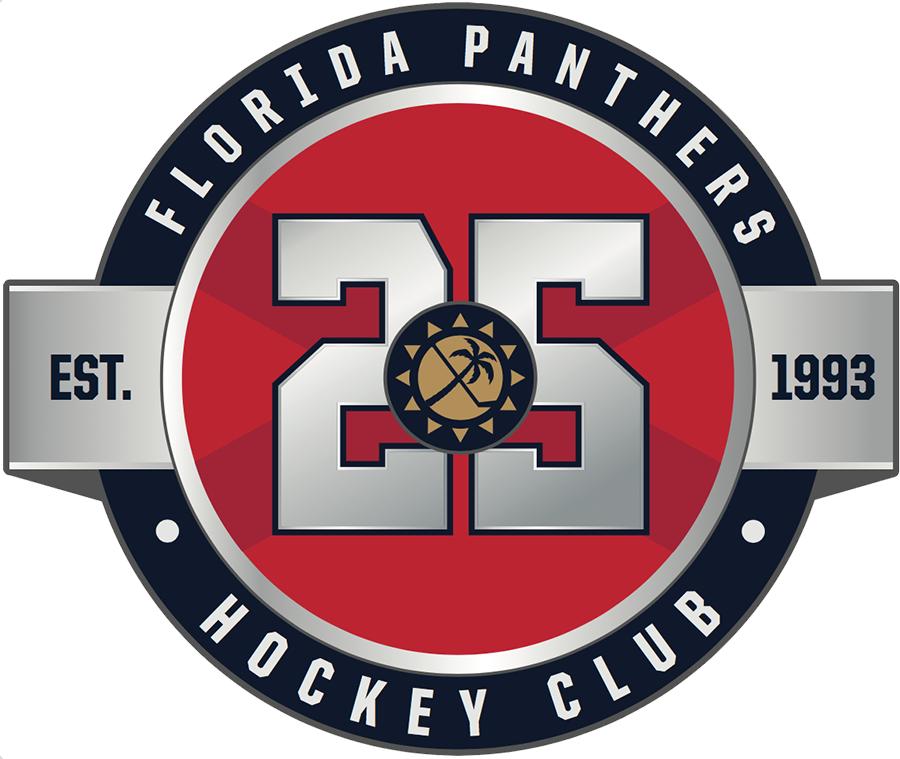Florida Panthers Logo Anniversary Logo (2018/19) - Florida Panthers 25th anniversary logo, this version worn on home red jersey SportsLogos.Net
