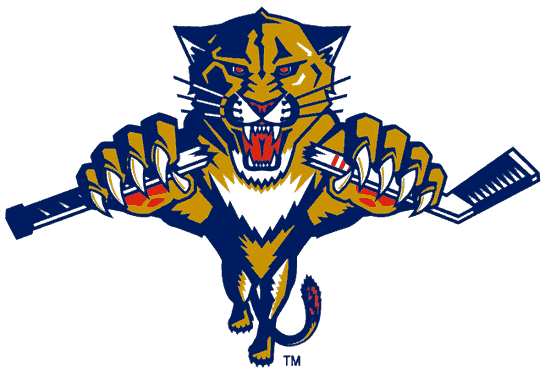 Florida Panthers Logo Alternate Logo (1993/94-1998/99) - A panther leaping through a red circle with crossed hockey sticksA panther leaping while breaking a hockey stick SportsLogos.Net