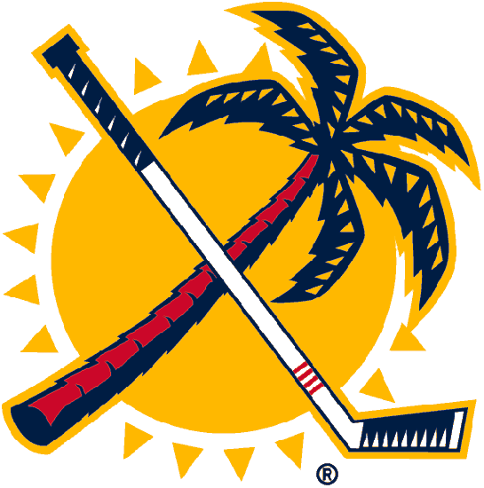 Florida Panthers Logo Secondary Logo (2008/09-2015/16) - A red and blue palm tree crossed with a white and blue hockey stick in front of a yellow sun  SportsLogos.Net