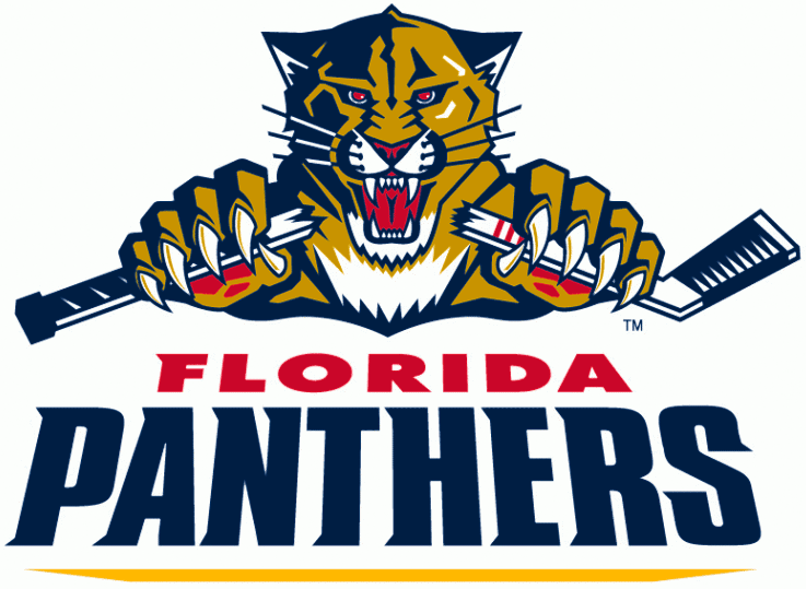 Florida Panthers Logo Wordmark Logo (2009/10-2015/16) - Primary team logo breaking a hockey stick above team name in red and blue SportsLogos.Net