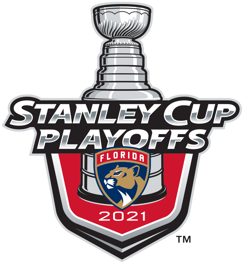 Florida Panthers Logo Event Logo (2020/21) - The Florida Panthers 2021 Stanley Cup Playoffs logo features the Panthers shield logo on a red shield with STANLEY CUP PLAYOFFS written above in silver and 2021 below in white. A depiction of the top-half of the Stanley Cup can be seen above the shield. This logo is used by the Florida Panthers on various materials throughout their participation in the 2021 NHL Stanley Cup Playoffs. SportsLogos.Net