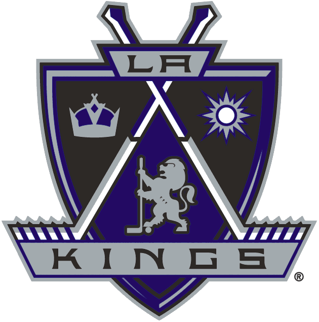 Los Angeles Kings Logo Primary Logo (1998/99-2001/02) - A black, purple, and silver shield with crossed hockey sticks, a crown, a sun, and a lion wearing sunglasses featured on it SportsLogos.Net