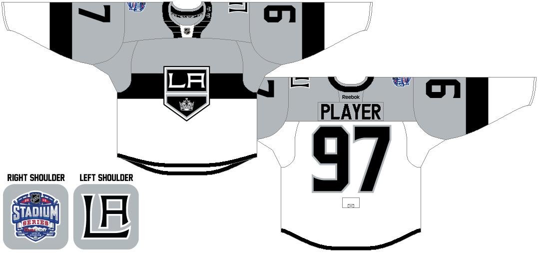 Los Angeles Kings Uniform Special Event Uniform (2014/15) - 2015 Coors Light NHL Stadium Series Jersey worn VS San Jose Sharks on Feb 21, 2015. SportsLogos.Net
