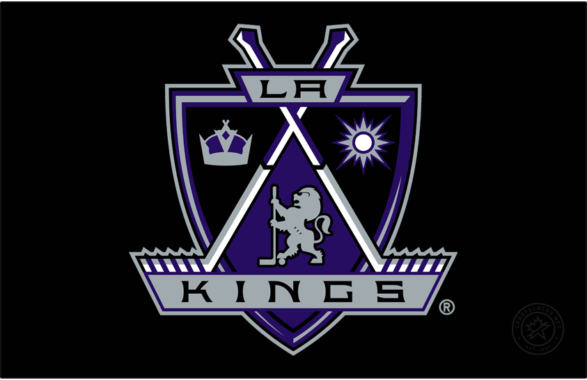 Los Angeles Kings Logo Primary Dark Logo (1998/99-2001/02) - After a decade of black and silver, the Los Angeles Kings tapped into their history by reintroducing purple to their look. The team kept the same basic shape of the pennant but now rounded more to resemble a shield or a coat of arms. The logo featured a sun for California, a crown for the Kings, and a lion wearing sunglasses in between two crossed sticks. SportsLogos.Net