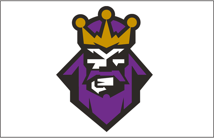 Los Angeles Kings Logo Jersey Logo (1995/96) - A king with a purple beard wearing gold crown, worn on the Los Angeles Kings  alternate jerseys in the 1995-96 season. Commonly referred to by fans as the