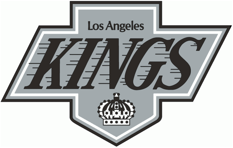 Los Angeles Kings Logo Primary Logo (1988/89-1997/98) - Silver shield with Los Angeles Kings and crown in black SportsLogos.Net