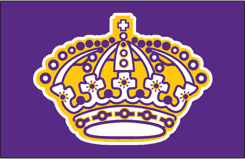 Los Angeles Kings Logo Jersey Logo (1969/70-1987/88) - A yellow, white, and purple crown with white outline on purple. Worn on Los Angeles Kings purple road jersey from 1969-70 until 1987-88 SportsLogos.Net