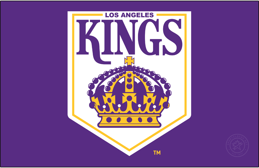Los Angeles Kings Logo Primary Dark Logo (1967/68-1974/75) - The original Los Angeles Kings primary logo was never featured on the uniforms of the team. The design was in Forum blue (purple) and Forum gold and featured an old royal pennant shape with a crown and the name of the team above. SportsLogos.Net