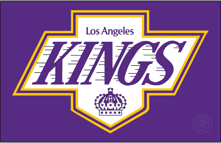 Los Angeles Kings Logo Special Event Logo (2020/21) - The Los Angeles Kings Reverse Retro logo, a throwback to the 1988 season with the Kings logo of the era - KINGS in diagonal text on a shield logo with a crown below - recoloured to their original Forum Blue (purple) and gold colour scheme. SportsLogos.Net