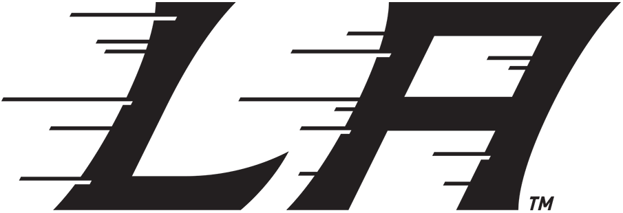 Los Angeles Kings Logo Special Event Logo (2019/20) - LA in black slanted to the right with streak lines, used by the Kings as their primary logo for the 2020 Stadium Series at Air Force Academy in Colorado SportsLogos.Net