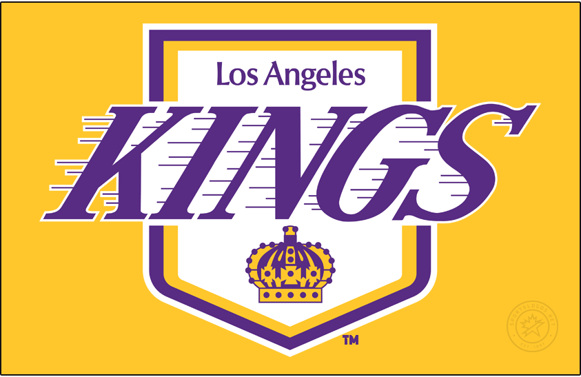 Los Angeles Kings Logo Primary Dark Logo (1975/76-1986/87) - The Los Angeles Kings redesigned their logo in 1976 while retaining the basic idea of their original look. The name of the club was made significantly larger and was now italicized and given speed lines, meanwhile the crown was shrunken down and placed at the bottom of the royal pennant shaped logo. SportsLogos.Net