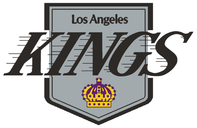 Los Angeles Kings Logo Primary Logo (1987/88) - Kings in black on silver with streaks to the left above a purple and yellow crown on a black and silver pennant SportsLogos.Net