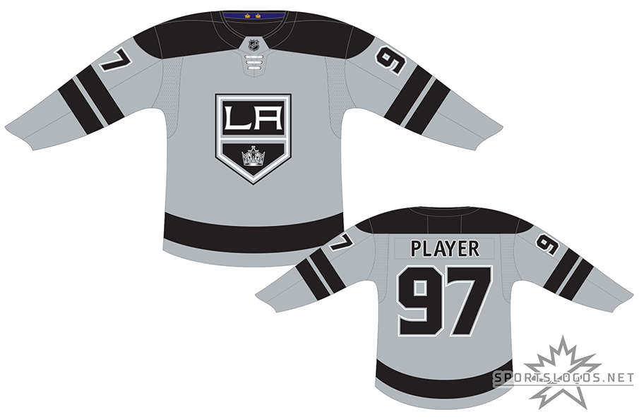 Los Angeles Kings Uniform Alternate Uniform (2018/19-2020/21) - Silver jersey with black shoulders and stripes, Kings primary logo on chest. Purple inner collar with two gold crowns references historical team colours and two Stanley Cup championships. Replaced following the 2020-21 season. SportsLogos.Net