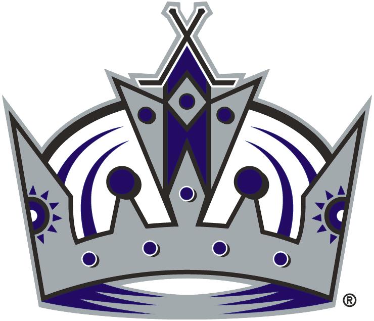 Los Angeles Kings Logo Alternate Logo (1998/99-2001/02) - A silver, black, and purple crown. Crossed hockey sticks at the top SportsLogos.Net