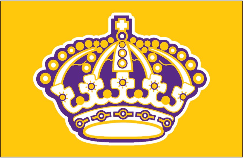 Los Angeles Kings Logo Jersey Logo (1969/70-1987/88) - A purple, white, and yellow crown with white outline on yellow. Worn on Los Angeles Kings yellow home jersey from 1969-70 until 1987-88 SportsLogos.Net