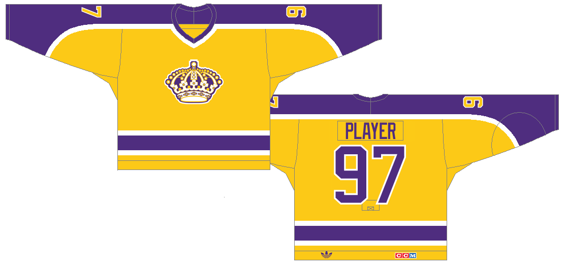 Los Angeles Kings Uniform Light Uniform (1980/81-1987/88) - The Kings redesign their uniforms in 1980, keeping their color scheme and adding neck-to-cuff stripes down the sleeves. SportsLogos.Net
