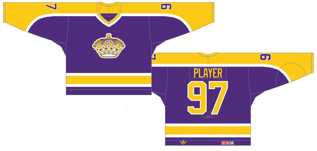 Los Angeles Kings Uniform Dark Uniform (1980/81-1987/88) - The Kings redesign their uniforms in 1980, keeping their color scheme and adding neck-to-cuff stripes down the sleeves. SportsLogos.Net