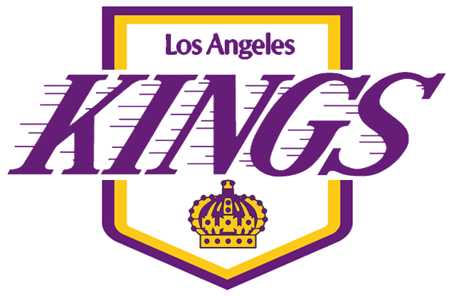 Los Angeles Kings Logo Primary Logo (1975/76-1986/87) - Kings in purple with streaks to the left above a purple and yellow crown on a purple and white pennant SportsLogos.Net