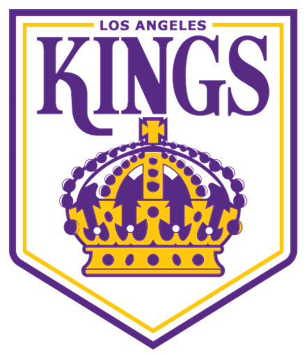 Los Angeles Kings Logo Primary Logo (1967/68-1974/75) - Kings in purple above a purple and yellow crown with Los Angeles above inside a purple pennant SportsLogos.Net