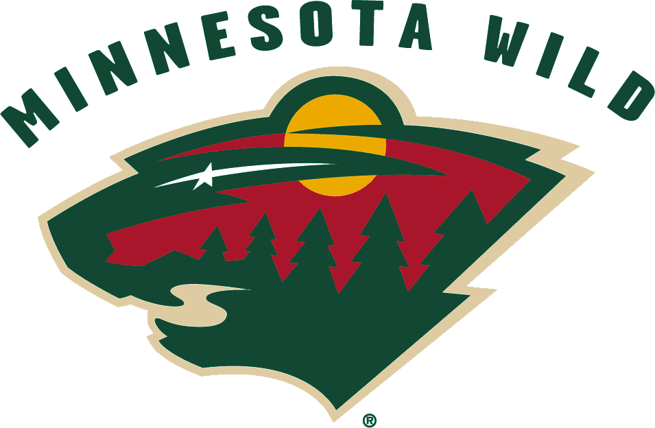 Minnesota Wild Logo Primary Logo (2000/01-2012/13) - The head of a black bear created using Minnesota-area scenery, green pine trees, a wheat coloured river, a red sky, yellow sun set and white shooting star.  Minnesota Wild arched over the logo SportsLogos.Net