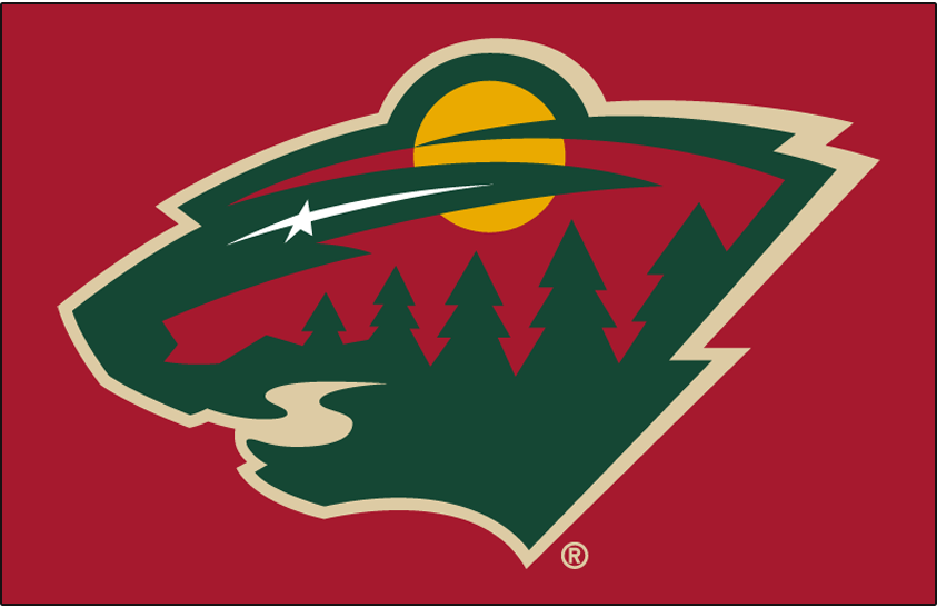 Minnesota Wild Logo Primary Dark Logo (2013/14-Pres) - Minnesota Wild primary logo on red SportsLogos.Net