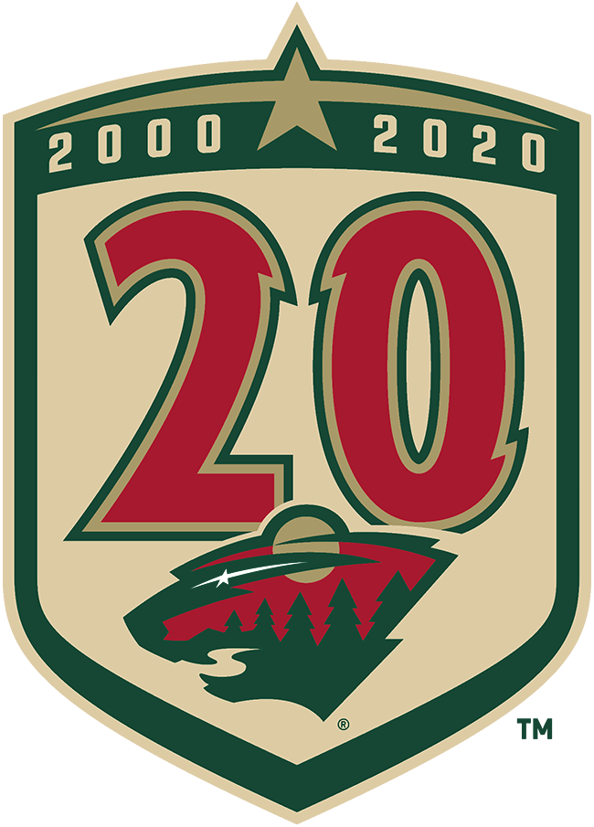 Minnesota Wild Logo Anniversary Logo (2020/21) - In recognition of the team's 20th anniversary, the Minnesota Wild wore this commemorative patch on their jerseys during the 2020-21 NHL season. The logo shows a number 20 in red, gold, and green in the same font as the numbers worn on their jerseys. The team's primary logo is shown below, slightly re-coloured to match the gold used in place of the team's usual wheat throughout the logo. Above is a star flanked by the team's inaugural year and current year, all of this placed within a tan and green shield. SportsLogos.Net