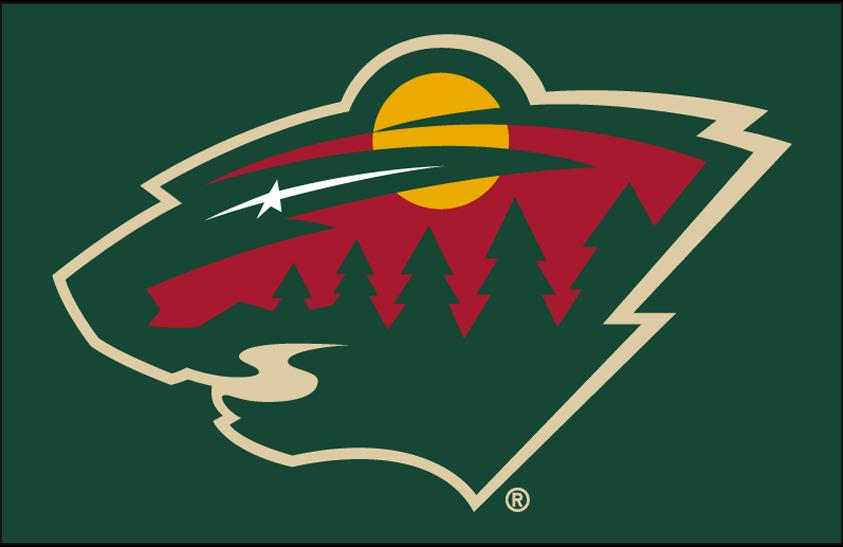 Minnesota Wild Logo Primary Dark Logo (2013/14-Pres) - Minnesota Wild primary logo on green SportsLogos.Net