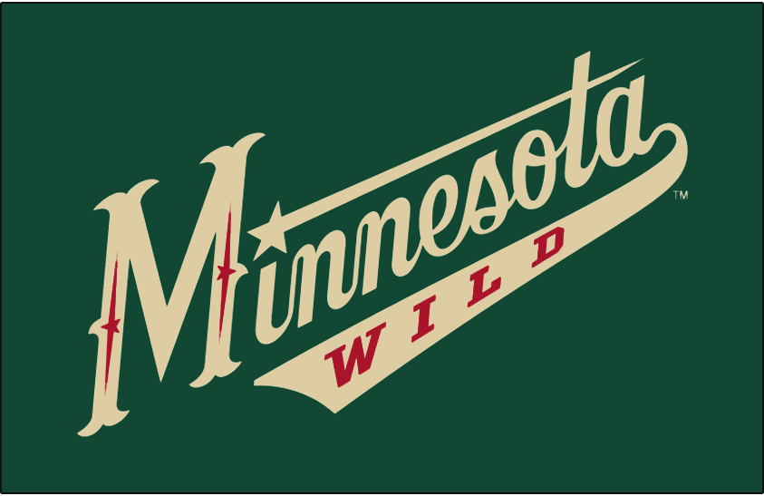 Minnesota Wild Logo Jersey Logo (2009/10-2016/17) - Minnesota in wheat coloured script, Wild written in red within the tail of the script on forest green.  Worn on front of Minnesota Wild green alternate jersey beginning with the 2009-10 season SportsLogos.Net