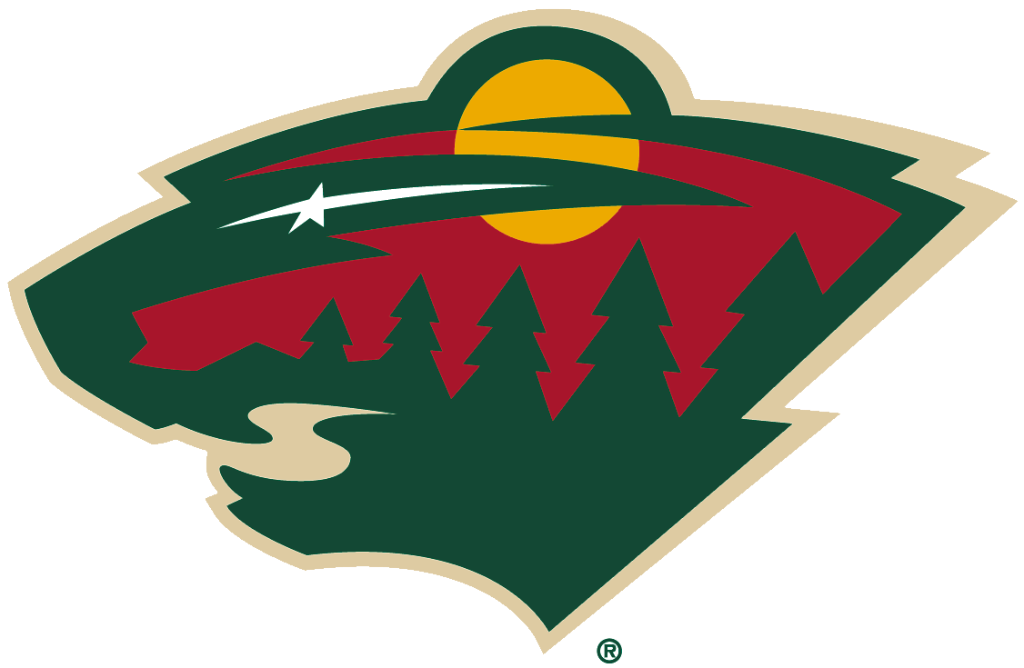 Minnesota Wild Logo Primary Logo (2013/14-Pres) - The head of a black bear created using Minnesota-area scenery, green pine trees, a wheat coloured river, a red sky, yellow sun set and white shooting star. SportsLogos.Net