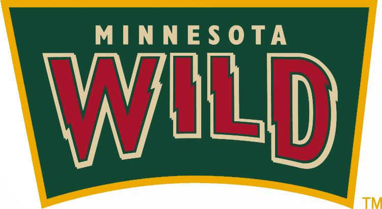 Minnesota Wild Logo Alternate Logo (2010/11-2012/13) - Wild in red jagged letters inside a green shield.  Worn on the shoulder of the Minnesota Wild road jersey. SportsLogos.Net