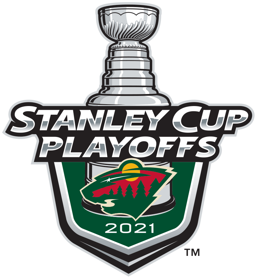 Minnesota Wild Logo Event Logo (2020/21) - The Minnesota Wild 2021 Stanley Cup Playoffs logo features the Wild combination animal and scenery logo on a green shield with STANLEY CUP PLAYOFFS written above in silver and 2021 below in white. A depiction of the top-half of the Stanley Cup can be seen above the shield. This logo is used by the Minnesota Wild on various materials throughout their participation in the 2021 NHL Stanley Cup Playoffs. SportsLogos.Net